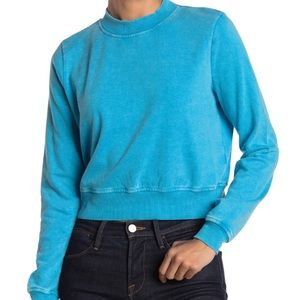 Love, Fire Sweatshirt Cropped Blue